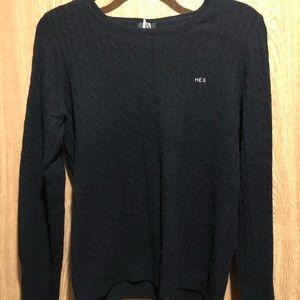 J Crew cable knit monogram sweater